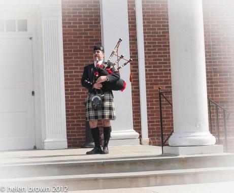 bagpiper outside church