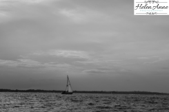 The lone sail boat